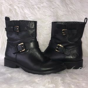 Tory Burch black leather double buckle booties